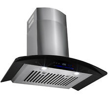 30  Europe Exhaust Stainless Steel   Black Glass Wall Mount Range Hood