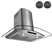 Stylish 30  Vent Stainless Steel Wall Mount Range Hood Touch with Carbon Filters