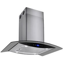 30  Island Mount Stainless Steel Glass Kitchen Vent Range Hood w  Carbon Filters