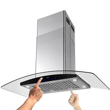 36  Stainless Glass Island Mount Vent Range Hood Baffle Filter Dual Touch Panel