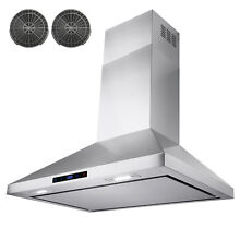 30  Stainless Steel Wall Mount Range Hood W  Touch Screen Control Ductless