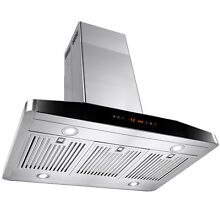 36  Stainless Steel Island Mount Range Hood Touch Screen Display Vents