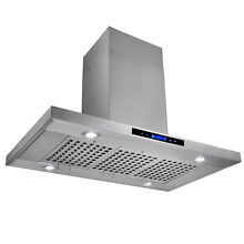 36  Stainless Steel Island Mount Range Hood Touch Screen Display Vented