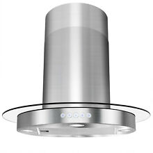 30  Island Mount Stainless Steel Tempered Glass Kitchen Vent Range Hood