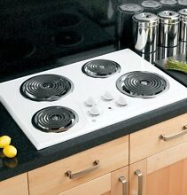 Electric Stove Top High Powered 4 Four  Burners Cooktop Range Oven Kitchen White