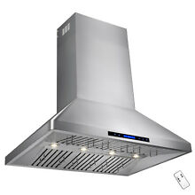 48  Dual Motor Stainless Steel Range Hood With Touch Screen Panel Wall Mount