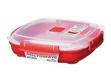 Sistema Microwave Medium Plate with Removable Steaming Tray   880 ml  Red Clear
