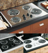 Electric Stove Top Four Burners Cooktop Range Oven Kitchen White Stainless Black