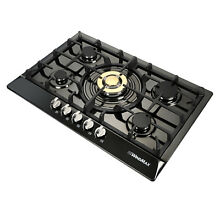 30  Black Stainless Steel 5 Burners Gas Cooktop Natural Gas Liquid Hob Cooker