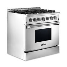 36  Stainless Steel Dual fuel Range NG LPG Top burner Electric Bottom Oven us