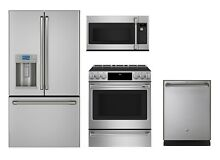 GE Cafe Stainless Appliance Package with 30  Induction Range