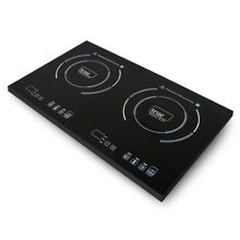 Black Electric Stove Double Burner Portable TI 2C Cooktop Magnetic Flat Bottom