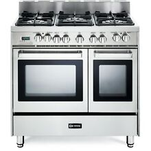 New Stainless Steel Kitchen Verona 36 Inch Pro Style Dual Fuel Double Oven Range