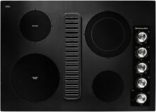 New Indoor Kitchen KitchenAid 30 in  Electric Downdraft Cooktop Black 4 Elements