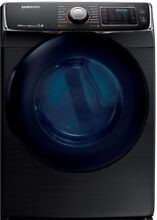 Samsung 7 5 cu  Ft  Electric Dryer Steam Black Stainless Steel ENERGY STAR New