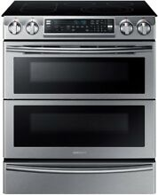 Samsung Flex 5 8 cu  ft  Slide In Double Oven Electric Self Cleaning Convection