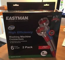 Eastman 6 Foot Pair of Washing Machine Hoses With 90 Degree Elbow