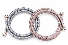 6 Ft Washing Machine Hoses Set of 2 Lead Free Stainless Steel with Red and Blue