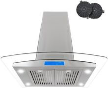 Cosmo 30 in  Ductless Island Range Hood Stainless Steel LED Lighting Carbon New