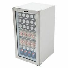 White Commercial Beverage Refrigerator Glass Door Stainless Steel 3 3 cu  ft