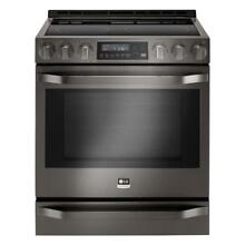 LG STUDIO 6 3 cu  ft  Slide In 30  Electric Range w  Warming Drawer   LSSE3029BD