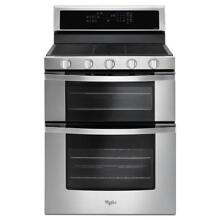 Whirlpool 6 0 cu  ft  Double Oven Gas Range with Center Oval Burner in