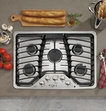 GE Profile 5 Burner Gas Stainless Steel 30  Cooktop PGP953SETSS