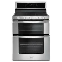 Whirlpool 6 0 cu  ft  Double Oven Gas Range with Center Oval Burner in Stainless