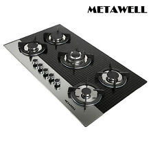 WindMax 35 5 inch Coated Glass 5 Burners Stove NG Gas Cooktop Cooker  USA STock