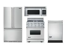 Viking Stainless Kitchen Package  30  Range   Refrigerator  Micowave  Dishwasher