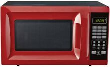 Compact Microwave Small 700W Low Profile Countertop Red College Dorm Oven Top