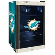 Miami Dolphins NFL Glass Door 4 6 cu  ft  Refrigerator For Home Office Dorm