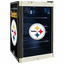 Pittsburgh Steelers NFL Glass Door 4 6 cu ft  Refrigerator For Home Office Dorm