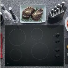 GE 30in Radiant Electric Cooktop Black 4 Burners Ceramic Glass Home Appliance