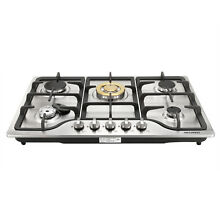 30  Stainless Steel with Brass 5 Burner Built in Gas Cooktop LPG NG Gas Hob