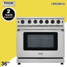 Thor Kitchen Stainless Steel Kitchen 36inch Gas Range Stoves Oven LRG3601U