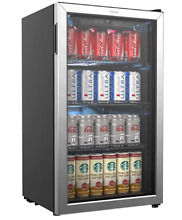 HOmeLabs Beverage Refrigerator and Cooler   120 Can Mini Fridge with Glass Door