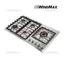 US 34 inch Stainless Steel 5 Burner Gas Cooktop NG LPG Approved Conversion Stove