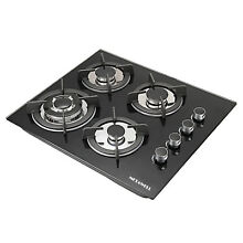 24  61cm 4Burners Built In NG LPG Gas Stove Cooktop with Black Tempered Glass US
