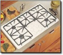 NEW OLD STOCK GE PROFILE 36  BUILT IN GAS COOKTOP BISQUE ON BISQUE JGP963CEKC