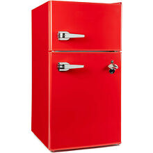 RCA Classic Compact Double Door Refrigerator   Freezer 3 2 Cu  Ft  Red