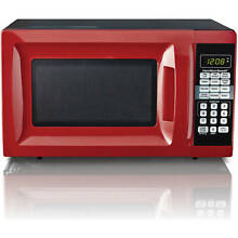 Modern Stylish with Digital Display Countertop 0 7 Cu  Ft  Microwave Oven Red