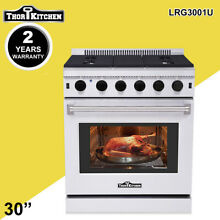 Thor Kitchen 30 Gas Range Cooker Oven Stainless Steel 5 Burner Cooktop LRG3001U