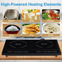 Induction Cooktop Double Electric Cooker Dual Portable 2 Burner Stove 120V 1800W