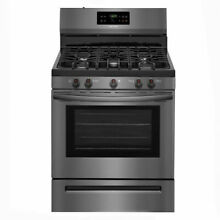Frigidaire 5 Burner Gas Range in Black Stainless Steel   New Damaged Box