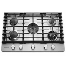 KitchenAid 30  Stainless Steel 5 Burner Gas Cooktop With Griddle