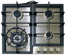 Magic Chef Gas Cooktop 24 in  4 Burners Triple Ring Elecronic Ignition Stainless