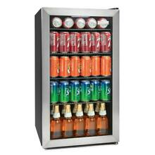IGLOO Beverage Cooler Refrigerator 135 Can Glass Door Kitchen Stainless Steel