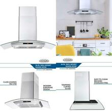 Cosmo COS 668AS900 36 in  Wall Mount Pro Style Range Hood   380 CFM Tempered Gla
