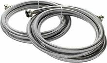 10 Foot Stainless Steel Washing Machine Hoses  2 Pack  Burst Proof  Lead